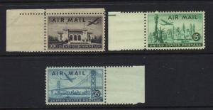 US 1947 Plane over Cities Set with selvage Scott C34-C36 3 Stamps MNH