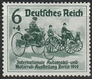 Stamp Germany Mi 686 Sc B134 1939 WWII Auto Exposition Berlin Mercedes Benz MH