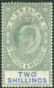 GIBRALTAR-1903 2/- Green & Blue.  A mounted mint example Sg 52