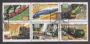Australia # 1329a, Trains, Block of Six, Used, 1/2 Cat.