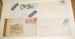 NIGERIA CENSORED COVERS TO USA 3 DIFF. & 1 TO FRENCH CAMEROONS 1940