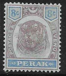 MALAYA PERAK SG71 1895 8c DULL PURPLE & ULTRAMARINE MTD MINT