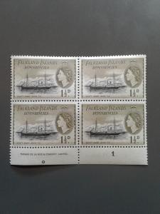 Falkland Islands 1L21 VF MNH Inscription Block. Scott $ 8.00+