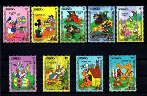 DOMINICA - 1984 - DISNEY - MICKEY - DONALD - EASTER BUNNIES - 9 X MINT MNH SET!