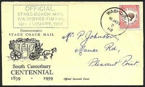 NEW ZEALAND 1959 Stage Coach commem cover, Washdyke skeleton cancel........76322