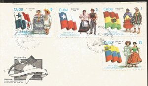 V) 1990 CARIBBEAN, LATIN AMERICAN STAMPS OR FLAGS AND COSTUMES, PANAMA, CHILE...