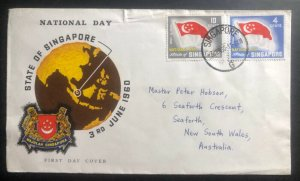 1960 Singapore First Day Cover FDC To Seaforth Australia National Day