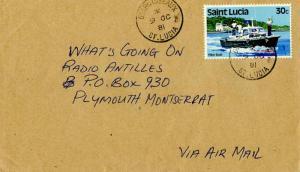 Saint Lucia 30c Pilot Boat 1981 Desruisseaux, St. Lucia Airmail to Plymouth, ...