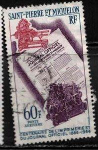 ST PIERRE & MIQUELON Scott # C34 Used - Centenary Of Journal Official