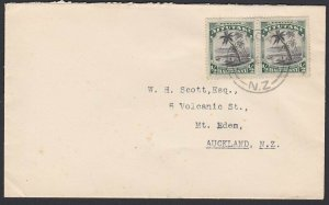 COOK IS 1931 cover AITUTAKI used in MANGAIA with pair ½d - unusual use.....87701