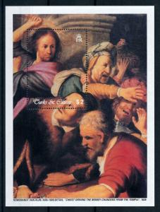 [100172] Turks & Caicos Isl. 2003 Painting Rembrandt Money Changers Sheet MNH