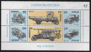 SWEDEN,1334, HINGED REMNANT, S.S OF 6, SWEDISH AUTOMOBILE HISTORY
