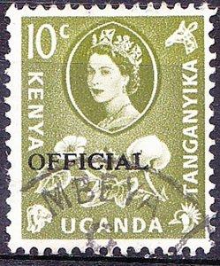 KENYA UGANDA TANGANYIKA 1960 QEII 10c Yellow-Green SGO14 FU