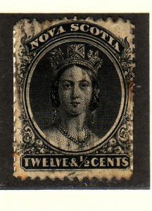 Nova Scotia Sc 13 1860 12 1/2c Victoria  stamp used