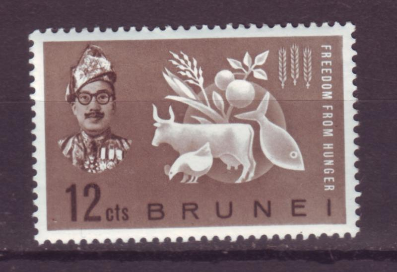 J17278 JLstamps 1963 brunei set of 1 mnh #100 hunger issue