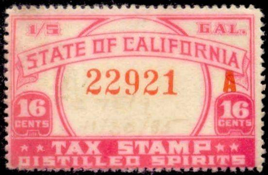 California State Revenue Stamp 16c Liquor Tax # L4