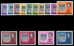 Northern Rhodesia 1963 QEII Definitives set complete MNH. SG 75-88. Sc 75-88.