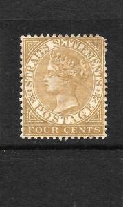 STRAITS SETTLEMENTS  1883-91  4c  QV   MH    SG 64b