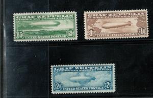 USA #C13 #C14 #C15 Very Fine Never Hinged Hinged Zeppelin Set