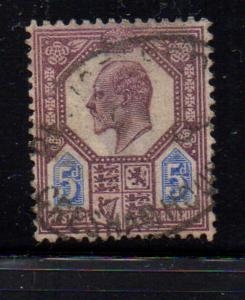 Great Britain Sc 134 1902 5d dull purple & ultra edward VII stamp used