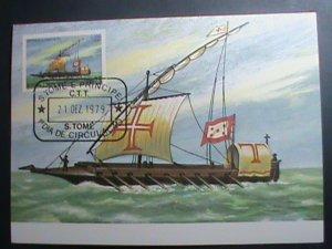 ST.THOMAS-1979-SC#539 MAXIMUM- CARD-HISTORY OF NAVIGATION-SHIPS MNH SHEET VF