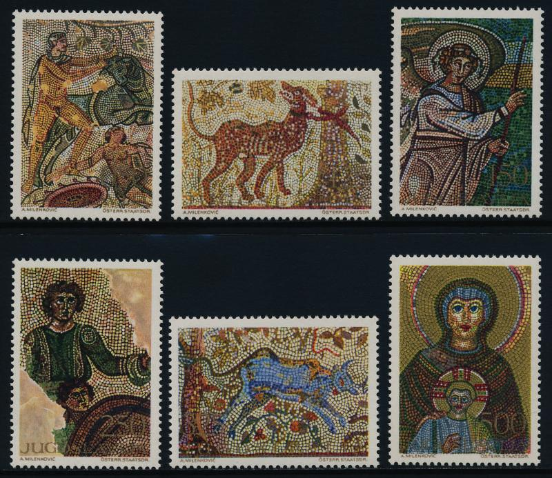 Yugoslavia 1011-6 MNH Art, Mosaics, Animals, Angel, Madonna & Child