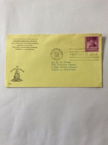 1948 Will Rogers 3c First day cover. Claremore OK post mark to Fresno.