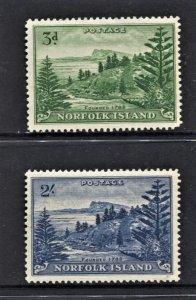 STAMP STATION PERTH Norfolk Island #23-24 Ball Bay Definitive  MNH- CV$37.00