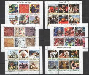 NS338,360-1 2003 GUINEA-BISSAU ART CULTURE MARTIAL ART CARNAVALS !!! 6KB MNH