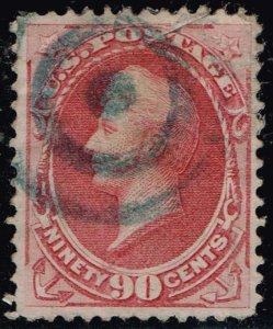 US STAMP #166 1873 90¢ Perry Continental Bank Note Printing TEAR USED