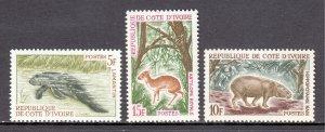 Ivory Coast - Scott #218-220 - MLH - Glazed gum - SCV $5.75