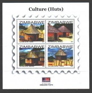 Zimbabwe. 2011. bl30. Traditional dwelling huts. MNH.