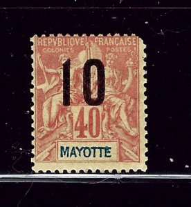 Mayotte 28 MH 1912 surcharge with short corner perf  (P58)