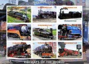 Turkmenistan 1999 TRAINS & LOCOMOTIVES OF THE WORLD Sheet Imperforated Mint (NH)