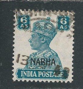 NABHA 1941-45 6a TURQUOISE GREEN GU SG 115 CAT £70