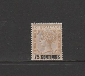 Gibraltar 1889 Opts 75c on 1/- MM SG 21