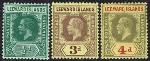 LEEWARD ISLANDS 1912 KGV 1/2D 3D AND 4D WMK MULTI CROWN CA */**