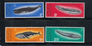 BRITISH ANTARCTIC TERRITORY # 64-67 VF-MNH HUMBACK WHALES CAT VALUE $30.25