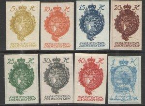 Liechtenstein 1920 Sc# 18-25 MH/HR VG - Complete Imperf set