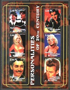 Congo Dem. Rep., 2001 Cinderella. Elvis, Beatles & Cinema on a sheet of 6. ^