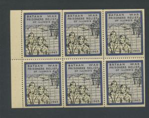 BATAAN WAR PRISONERS RELIEF MINT PANE OF 6  POSTER STAMPS (L1054) PHILIPPINES