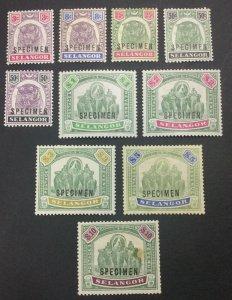 MOMEN: MALAYA SELANGOR SG #54s,56s-65s 1895-99 SPECIMEN MINT OG H/NH LOT #60895