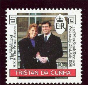Tristan Da Cunha 1986 QEII 10p 'Royal Wedding' watermark inverted MNH. SG 415w.
