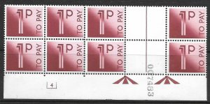 D90 1p 1982 Decimal Postage Due Cyl 4 block of 8 UNMOUNTED MINT