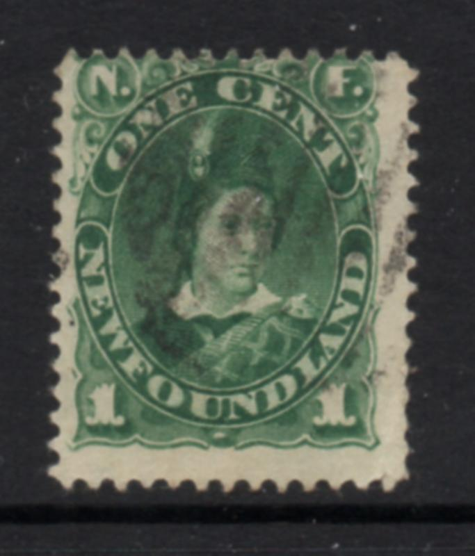 Newfoundland Sc 45 1897 1c green Prince of Wales stamp used