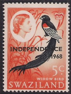 Swaziland 1968 QE2 5ct long Tailed Wynah Independence Ovpt MM SG 149 ( L1324 )