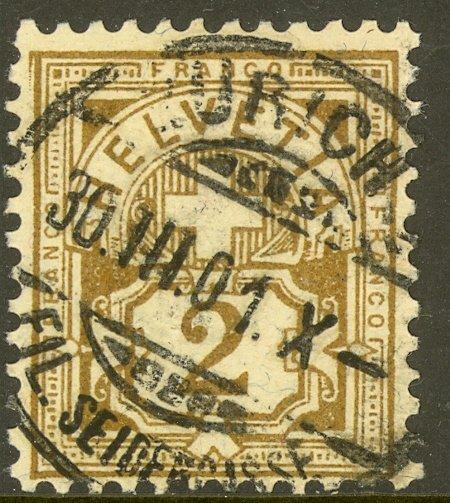 SWITZERLAND 1882-99 2c Bister Numeral Issue Sc 69 VFU