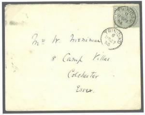 W357a 1886 TRINIDAD 4d Rate Transatlantic Mail Superb CDS Colchester GB Essex