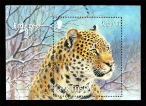 Guernsey 2009 Endangered Species: Amur Leopard, Tiger S/S £3 SG.MS1266 Used