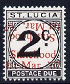 St Lucia 1967 Postage Due 2c 'Statehood' opt in red doubl...